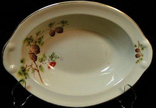 """Taylor Smith Taylor Pine Cone Oval Serving Bowl 9 1/2"""" TST 1649 Excellent"""