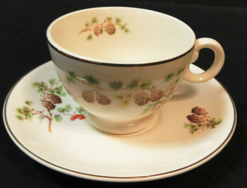 Taylor Smith Taylor Pine Tea Cup Saucer Set TST 1649 | DR Vintage Dinnerware and Replacements