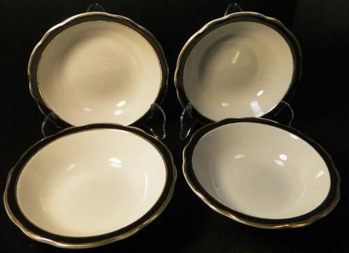 """Jackson Restaurant Ware Cereal Bowls 6 1/4"""" Black Band Gold Set of 4 Excellent"""