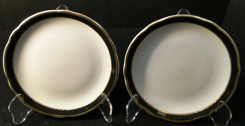 Jackson China Restaurant Ware Bread Plates 6 1/4 Black Band Gold Set 2 Excellent