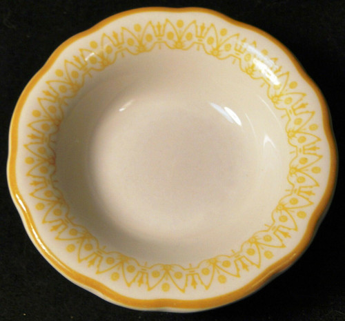 "Buffalo Restaurant Ware Berry Bowl 4 3/4"" Scalloped Yellow Trim Excellent"