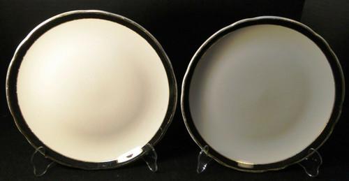 "Jackson China Restaurant Ware Dinner Plates 10"" Black Band Gold Set 2 Excellent"