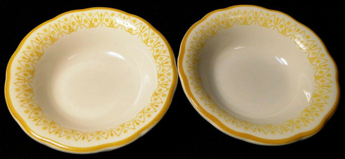 "Buffalo Restaurant Ware Berry Bowls 4 3/4"" Scalloped Yellow Trim Set 2 Excellent"