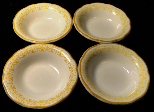"Buffalo Restaurant Ware Berry Bowls 4 3/4"" Scalloped Yellow Trim Set 4 Excellent"