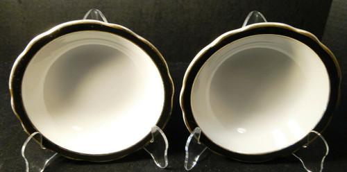 "Jackson China Restaurant Ware Cereal Bowls 6 1/4"" Black Band Gold Set of 2"