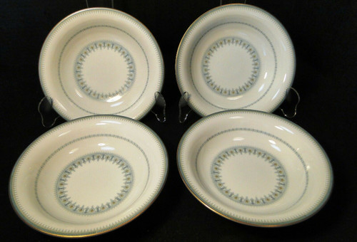 """Noritake Maya Soup Bowls 7 1/2"""" 6213 Blue Green Geometric Set of 4 