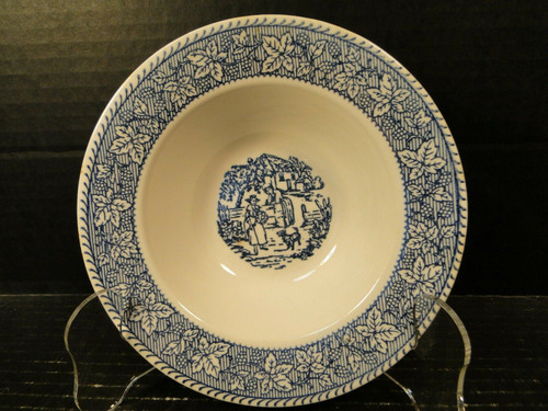 """Homer Laughlin Shakespeare Country Berry Bowl 6"""" Blue Leaves   DR Vintage Dinnerware and Replacements"""