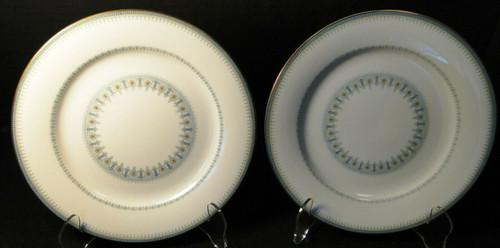 "Noritake Maya Salad Plates 8 1/4"" 6213 Blue Green Geometric Set of 2 | DR Vintage Dinnerware and Replacements"