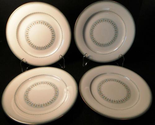 "Noritake Maya Salad Plates 8 1/4"" 6213 Blue Green Geometric Set of 4 | DR Vintage Dinnerware and Replacements"