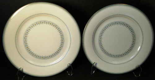 "Noritake Maya Dinner Plates10 1/2"" 6213 Blue Green Geometric Set of 2 | DR Vintage Dinnerware and Replacements"
