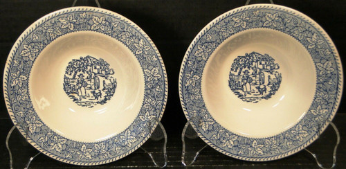 """Homer Laughlin Shakespeare Country Berry Bowls 6"""" Blue Leaves Set of 2   DR Vintage Dinnerware and Replacements"""