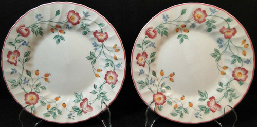 """Churchill Briar Rose Salad Plates 8"""" Red Flowers England Set of 2 