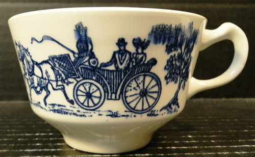 Homer Laughlin Shakespeare Country Tea Cup Blue Carriage | DR Vintage Dinnerware and Replacements