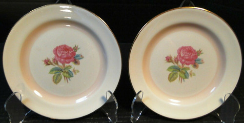 Homer Laughlin Eggshell Nautilus N1580 Bread Plates Moss Rose Set 2 | DR Vintage Dinnerware and Replacements