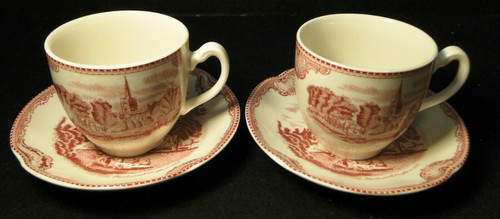 Johnson Brothers Old Britain Castles Tea Cup Saucer Sets Pink England 2 | DR Vintage Dinnerware and Replacements