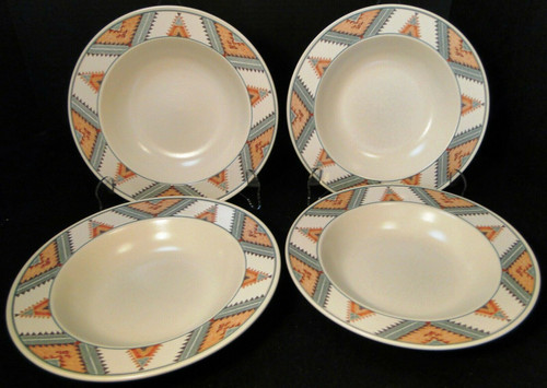 "Mikasa Santa FE Soup Bowls 9 1/4"" CAC24 Intaglio Southwest Salad Set 4 