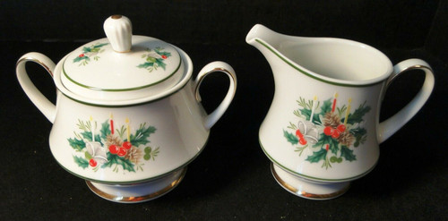 Noritake Holly Creamer Sugar Bowl with lid 2228 Japan Berries Candles   DR Vintage Dinnerware and Replacements
