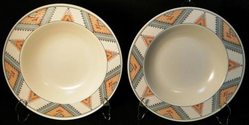 "Mikasa Santa FE Soup Bowls 9 1/4"" CAC24 Intaglio Southwest Salad Set 2 | DR Vintage Dinnerware and Replacements"