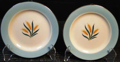 """International D S Co Viking Bread Plates 6 3/8"""" Wheat Aqua Set of 2 