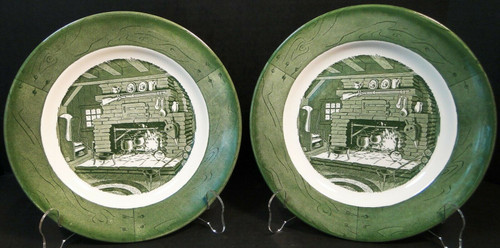 """Royal China Colonial Homestead Dinner Plates 10"""" Hearth Set of 2 
