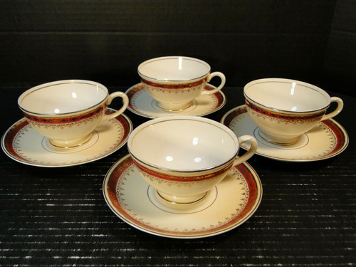 Homer Laughlin Monarch Tea Cup Saucer Sets Eggshell Georgian 4 | DR Vintage Dinnerware and Replacements