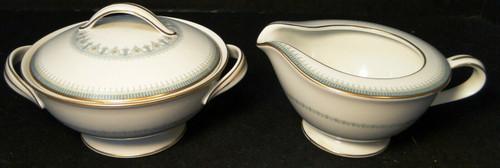 Noritake Maya Creamer Sugar Bowl W/ Lid Set 6213 Blue Green Geometric Excellent