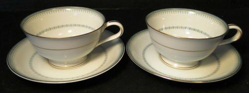 Noritake Maya Tea Cup Saucer Sets 6213 Blue Green Geometric 2 Excellent