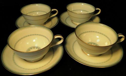 Noritake Maya Tea Cup Saucer Sets 6213 Blue Green Geometric 4 Excellent