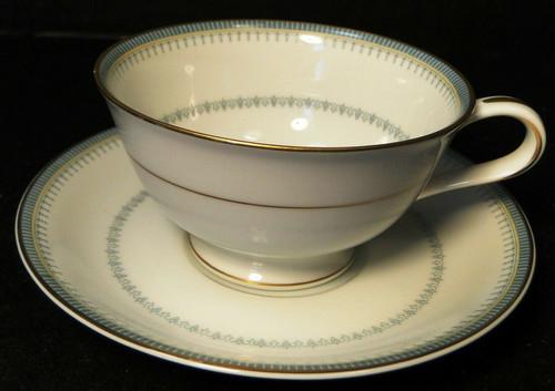 Noritake Maya Tea Cup Saucer Set 6213 Blue Green Geometric Excellent