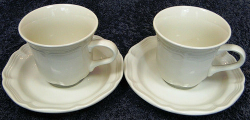 Mikasa French Countryside Cup Tea Coffee Mug Saucer Sets F9000 White 2 Excellent