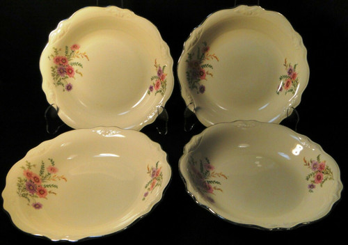 Homer Laughlin Virginia Rose Meadow Goldenrod Soup Bowls 8 1/2 Set 4 Excellent