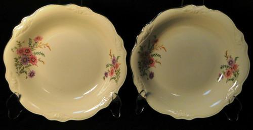 Homer Laughlin Virginia Rose Meadow Goldenrod Soup Bowls 8 1/2 Set 2 Excellent