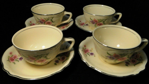 Homer Laughlin Virginia Rose Meadow Goldenrod Tea Cup Saucer Sets 4 Excellent