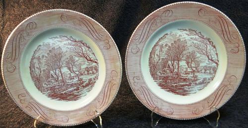 "Royal China Currier Ives Old Grist Mill Dinner Plates 10"" Pink Set 2 Excellent"