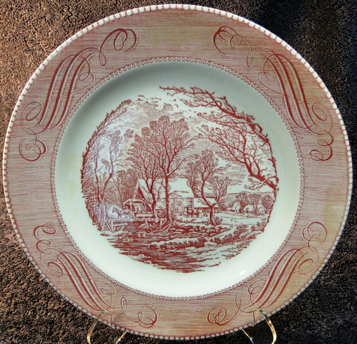 """Royal China Currier Ives Old Grist Mill Dinner Plate 10"""" Pink Red Excellent"""