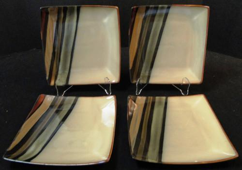 """Sango Avanti Black Salad Plates 8"""" 4721 Square Set of 4 Excellent"""