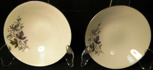 """Homer Laughlin Triumph Moselle Berry Bowls 5 1/4"""" Green Blue Set of 2 Excellent"""