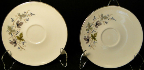 Homer Laughlin Triumph Moselle Saucers Green Blue Set of 2 Excellent
