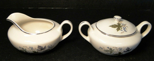 Homer Laughlin Triumph Moselle Creamer Sugar Bowl with lid Green Blue Excellent