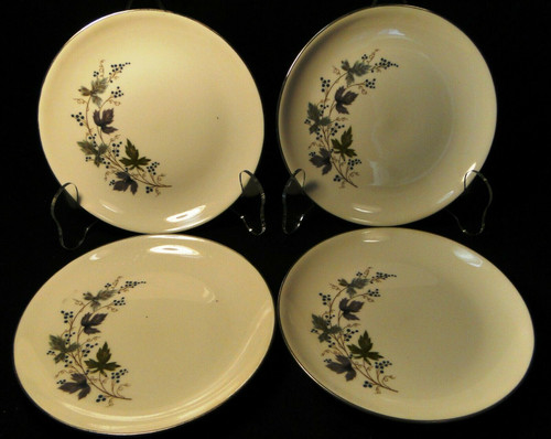 """Homer Laughlin Triumph Moselle Bread Plates 6"""" Green Blue Set of 4 Excellent"""