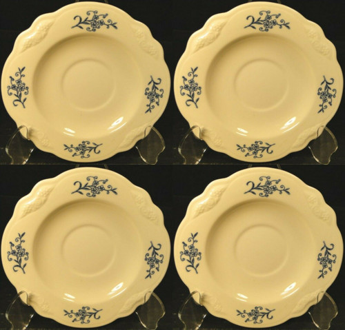 Homer Laughlin Virginia Rose Dresden Blue Imperial Saucers Set of 4 Excellent