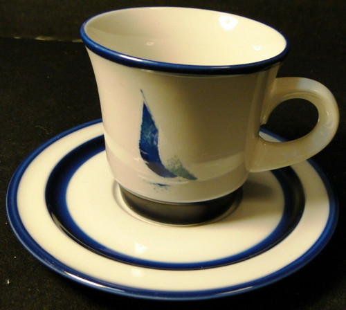 Noritake Running Free Cup Saucer Set B968 Stoneware Blue Sailboat Excellent