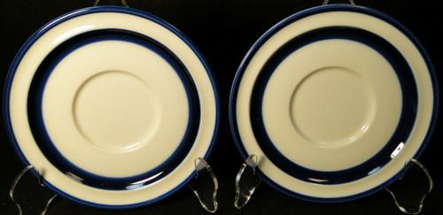 Noritake Running Free Saucers B968 Stoneware Blue Band Set of 2 Excellent