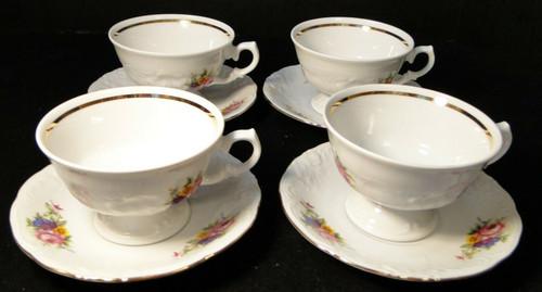 Royal Kent Poland RKT6 Tea Cup Saucer Sets Pink Roses Floral 4 Excellent