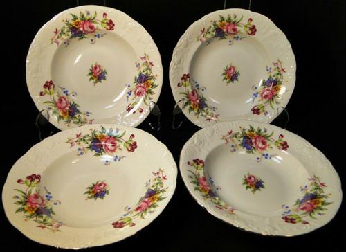 """Royal Kent Poland RKT6 Soup Bowls 8 1/4"""" Pink Roses Floral Set of 4 Excellent"""