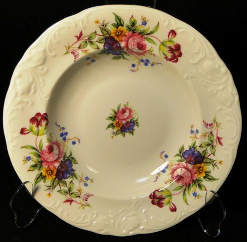 "Royal Kent Poland RKT6 Soup Bowl 8 1/4"" Pink Roses Floral Excellent"