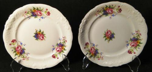 """Royal Kent Poland RKT6 Bread Plates 6 3/4"""" Pink Roses Floral Set of 2 Excellent"""