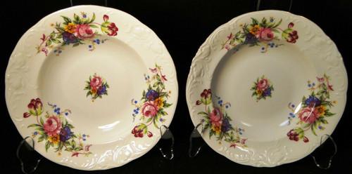 """Royal Kent Poland RKT6 Soup Bowls 8 1/4"""" Pink Roses Floral Set of 2 Excellent"""