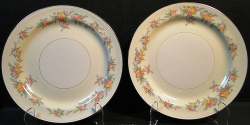 """Homer Laughlin Eggshell Nautilus Darcy Luncheon Dinner Plates 9 1/8"""" Set 2 