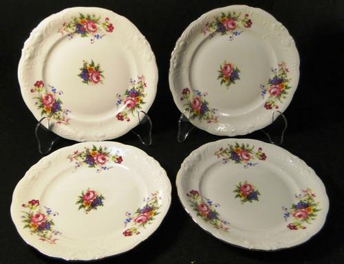 """Royal Kent Poland RKT6 Bread Plates 6 3/4"""" Pink Roses Floral Set of 4 Excellent"""
